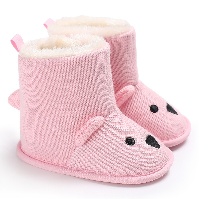 Baby Winter Boots Knitted Keep Warm Wool Booties Infant Toddler Newborn Shoes Cute Cartoon Bear First Walkers