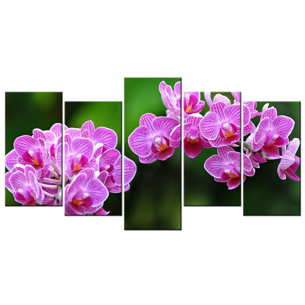 Zeitgenössische Wand dekor Leinwand Lila Orchidee Blumen HD Bilder ...