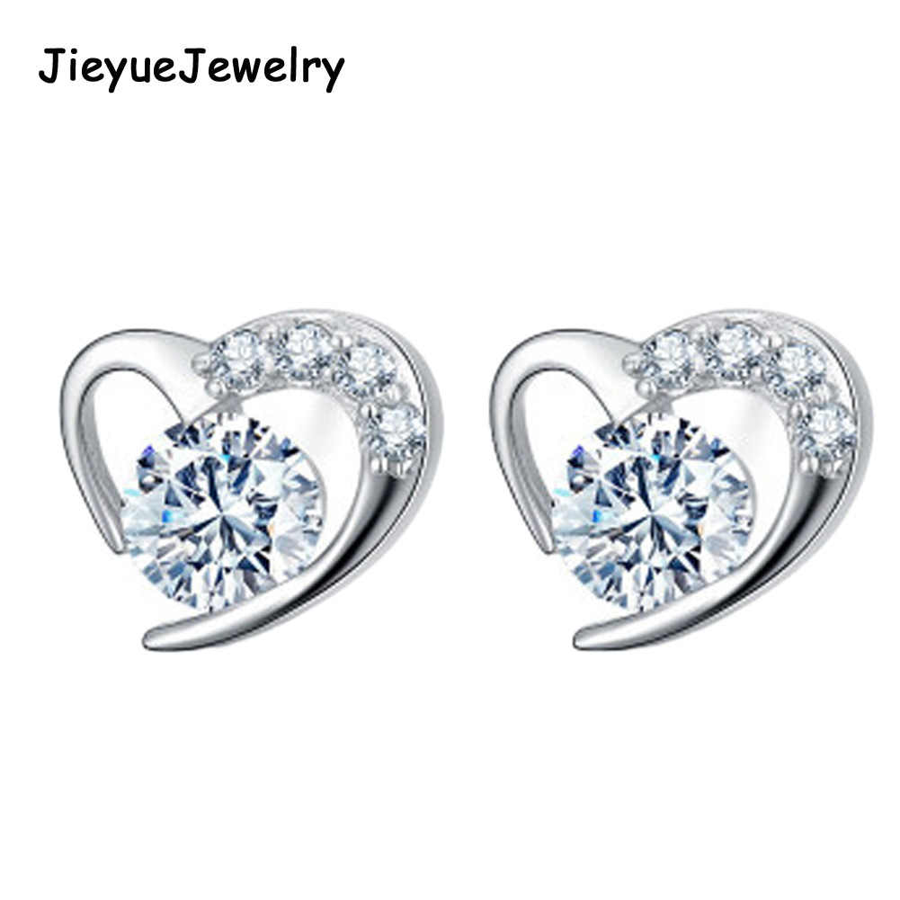 New Arrivals Silver Plated Zircon Filled Heart Shaped Stud Earrings for Women dropshipping Lovely Studs lady brincos Wholesale