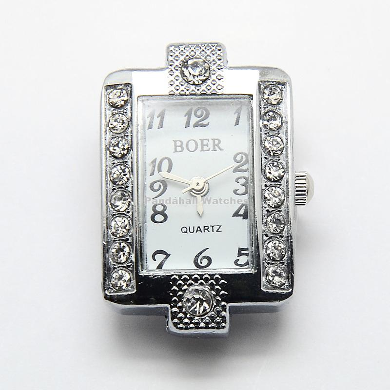 10pcs Platinum Alloy Rhinestone Watch Heads Rectangle Watch Faces, 29.5x19.5x7.5mm,  Hole: 1mm