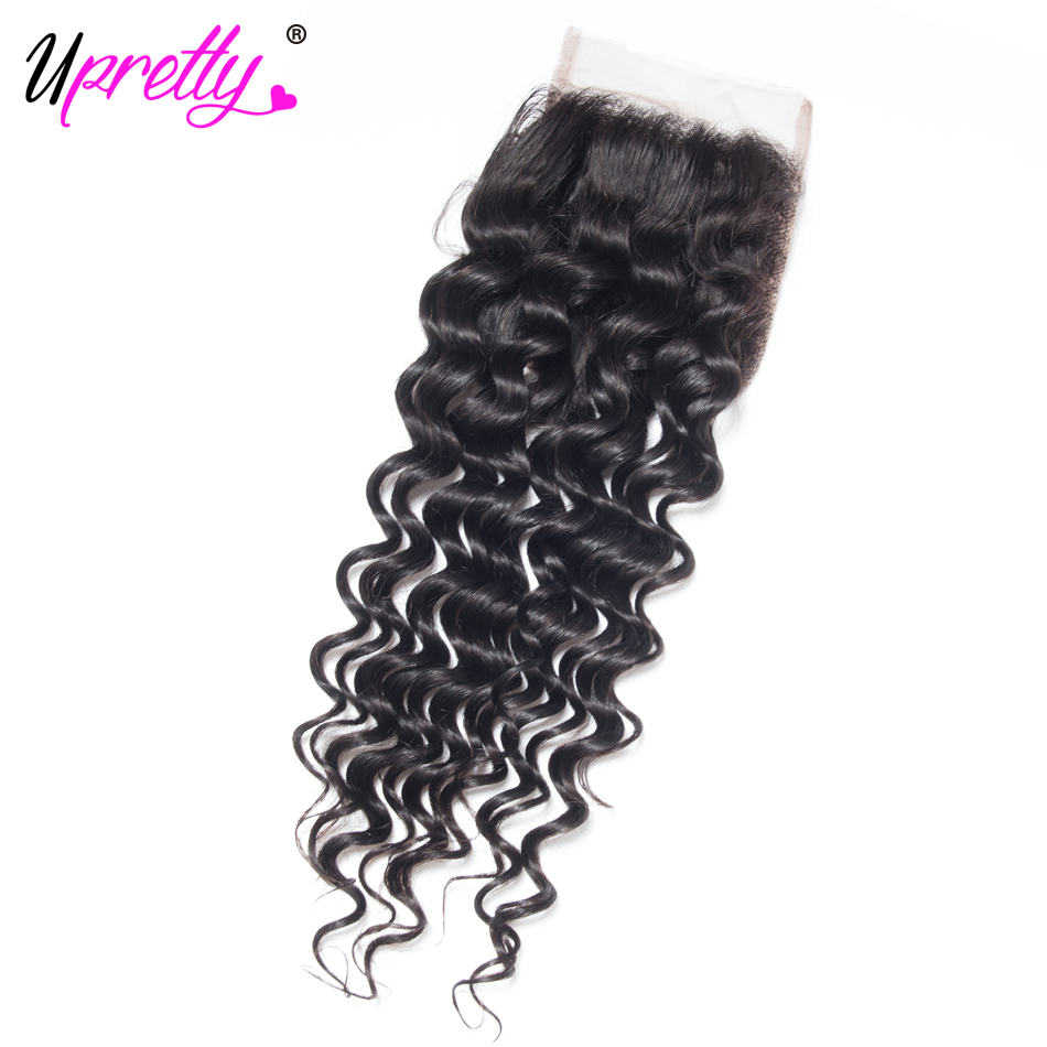 Upretty Hair Peruvian Deep Wave with Closure Peruvian Hair Deep Curly 4 Bundles with 4*4 Lace Closure 100% Remy Human Hair Deals