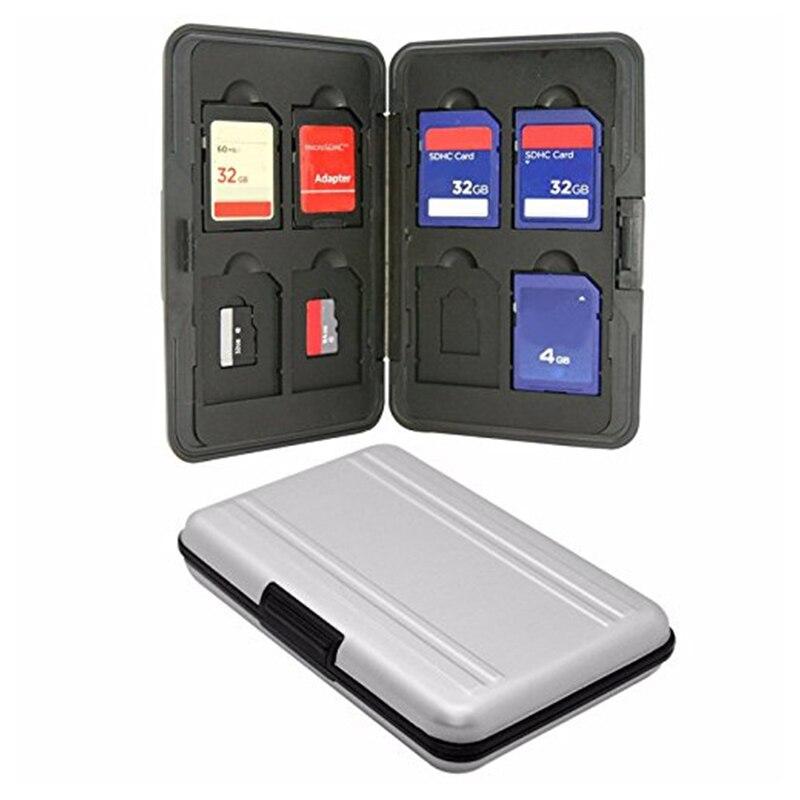 Argent Micro SD porte-carte SDXC support de stockage étuis de carte mémoire protecteur boîtier en aluminium 16 solts pour SD/SDHC/SDXC/Micro SD
