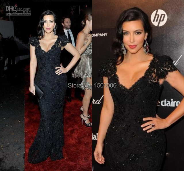 New Designer Fashion V Neck Mermaid Floor Length Kim Kardashian Sexy Black Lace Celebrity Dresses Evening Dress Prom Gowns MD11