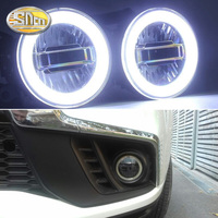 SNCN 3 IN 1 Functions Auto LED Angel Eyes Daytime Running Light Car Projector Fog Lamp For Mitsubishi ASX 2011 2016 2017 2018