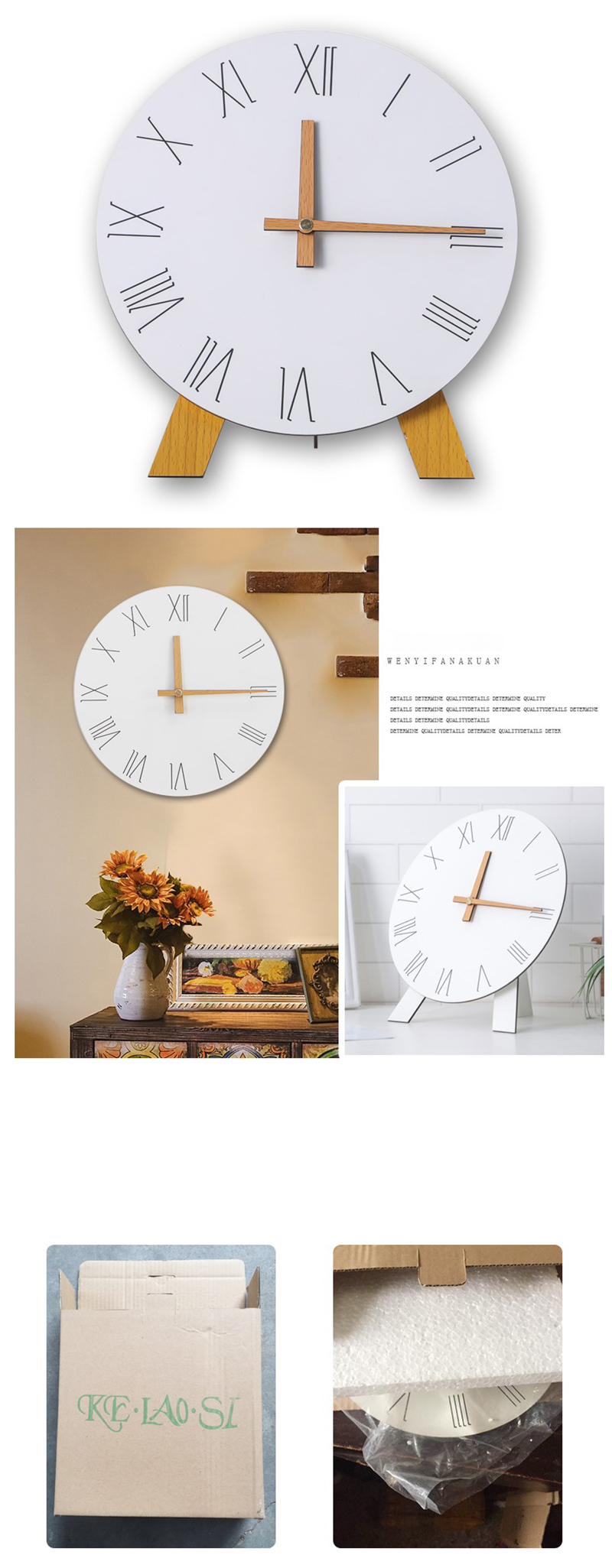 study clock watch office office table decoration flip calendar bamboo clock desk clock circular electronic desktop clock dementia clock (9)