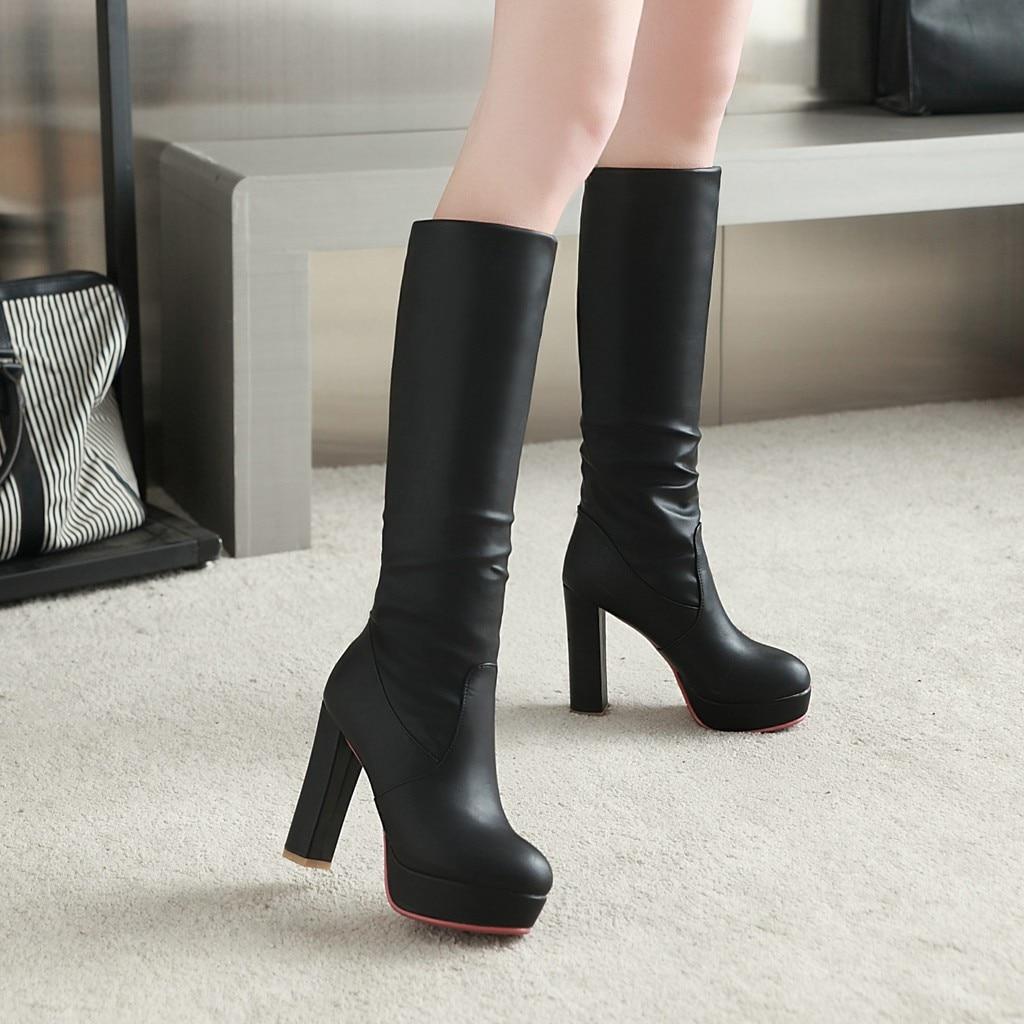 Qzyerai De Vache Femmes Et Talons Bottes Fait Chaussures rouge Chaleur Hiver Mode Noir Sexy Peau blanc Haute tshCrdQx