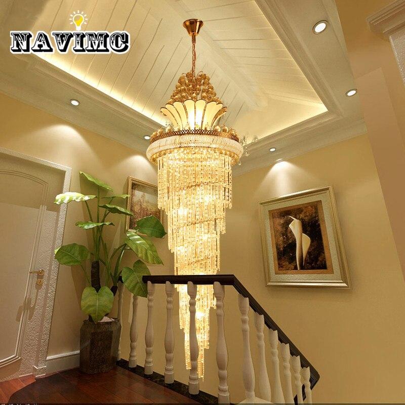 Grande Oro Imperial Lampadario di Cristallo per Hotel Sala Soggiorno Scala a Sospensione Lampada a sospensione Europeo Grande Illuminazione