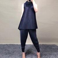 Summer 2019 New Sleeveless T shirt Female Pure Korean Version Loose Size MIYAKE pleats tshirt free shipping