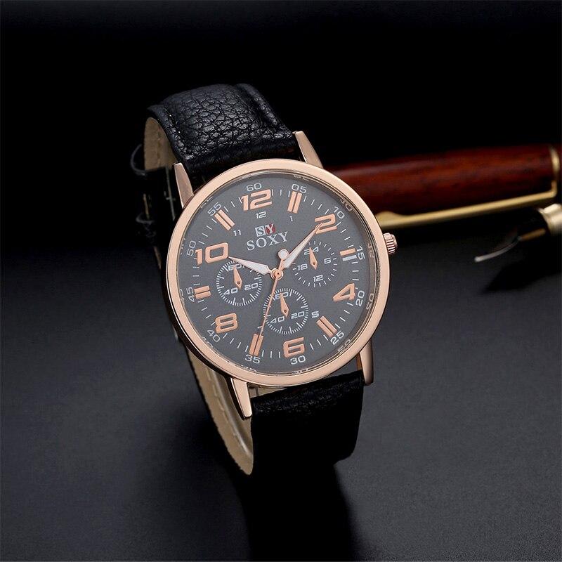 c54e71be58fb Soxy marca moda reloj fresco deporte relojes hombres cuero reloj de cuarzo  hombre de lujo reloj de oro reloj Relogio Masculino