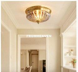 Darmowa wysyłka europa Retro miedzi projekt D30cm H17cm światła sufit kryształ Lustre galwanicznie mosiądzu światła sypialnia Loft lampa