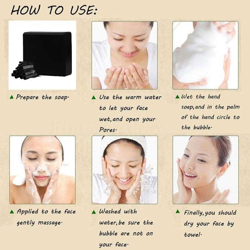 Carbón vegetal bambú negro jabón para el rostro limpieza profunda limpieza blanqueamiento maquillaje hecho a mano cuidado de la piel baño eliminación del cuerpo aceite belleza
