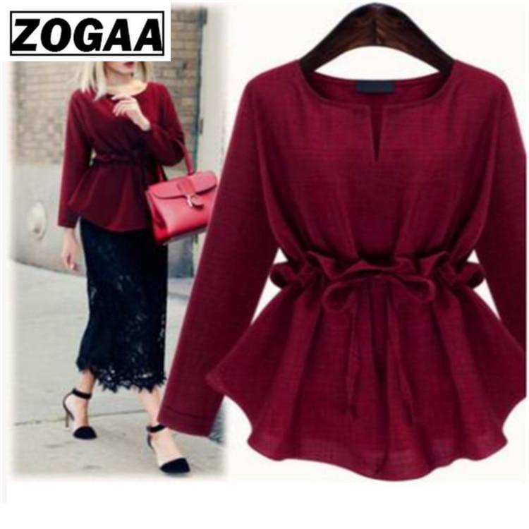 ZOGAA 2017 Women Long Sleeves Peplum Tops Blouse Shirts Lace Up Ruffle Waist Tunic Female Clothes Korean Plus Size