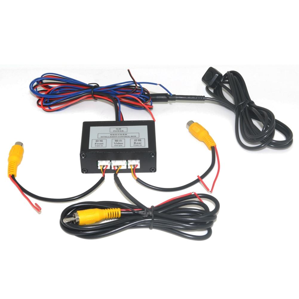 Aparcamiento de coches cámara de Video convertidor canal interruptor Auto frontal/lateral/Vista trasera cámara de visión trasera caja de Control de vídeo con Manual