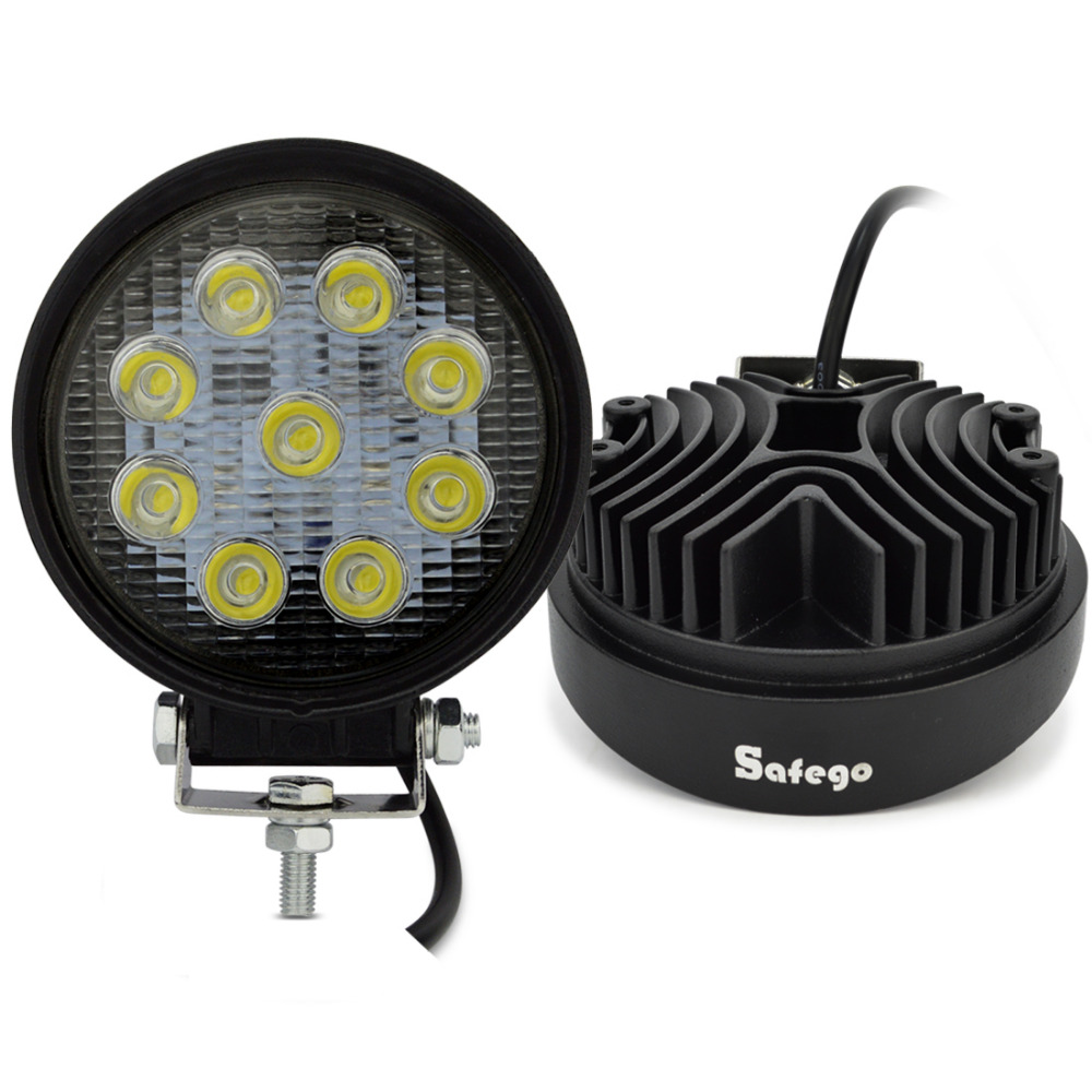 Safego 2 pcs ATV 4 pouce 27 W led light work lamp 12 V LED tracteur phares de travail bar spot Flood off-route hors route 4X4 voiture camion 24 V