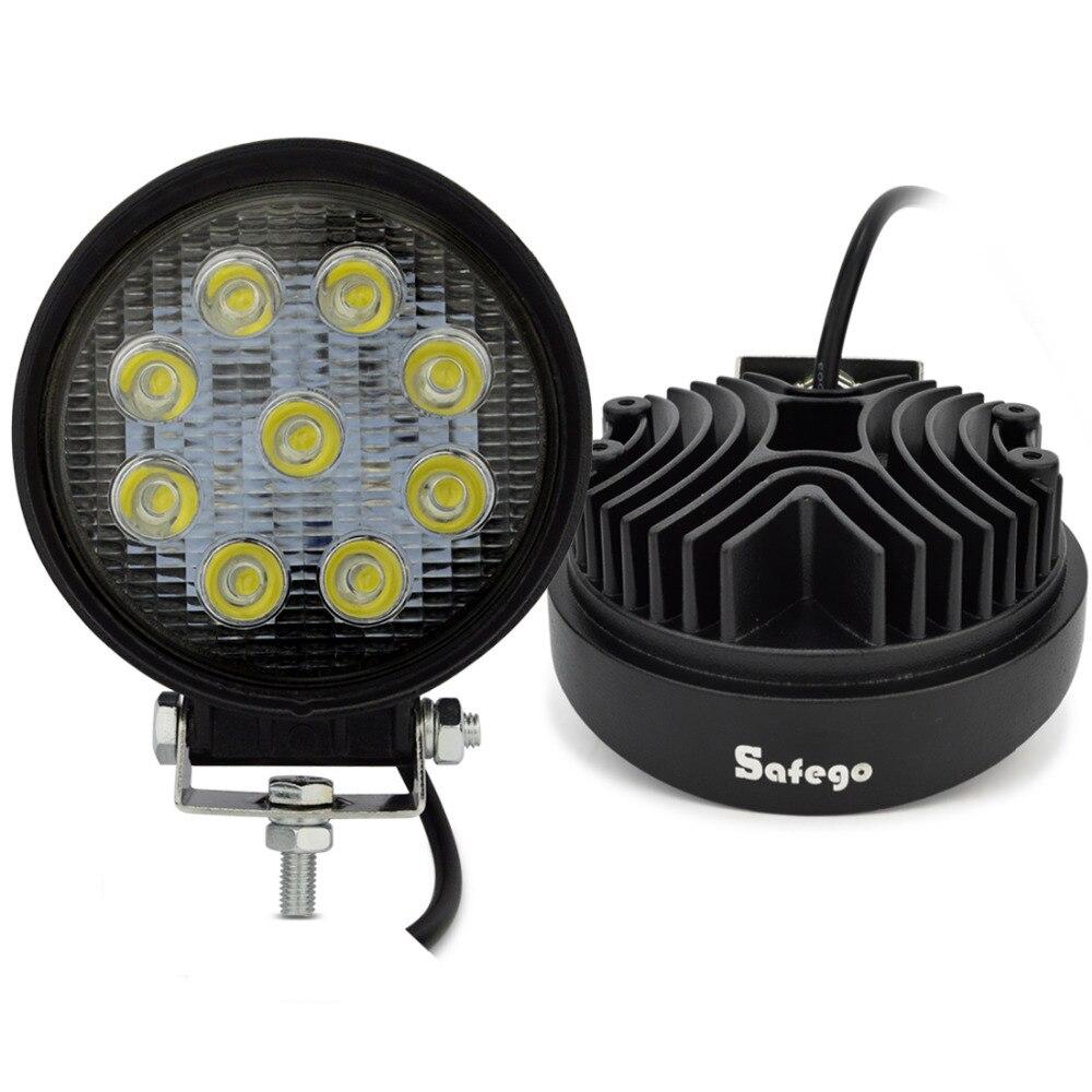 Safego 2pcs ATV 4inch 27W led work light lamp 12V LED tractor work lights bar spot Flood offroad off road 4X4 car truck 24V