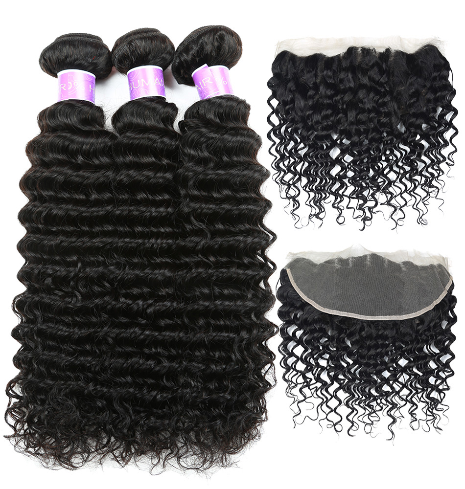 CRANBERRY Indian Deep Wave Bundles With Frontal Ear To Ear 13 4 Lace Frontal With Bundles