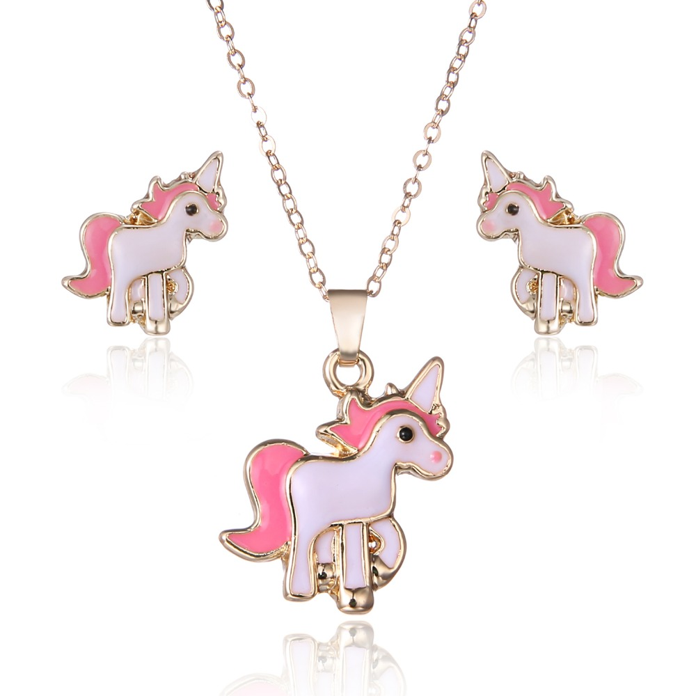 RINHOO Pink Horse party Jewelry Sets Kits For Women Girl Earrings Necklaces Costume Animal Decorations Wedding spring jewelry