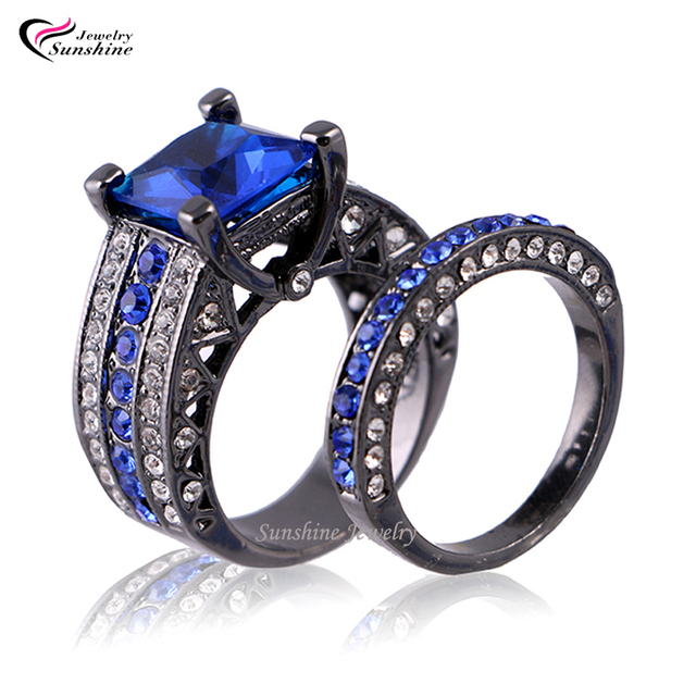 Blue Cubic Zirconia Black Plated Women S Gold Wedding Ring Set Engagement Turkish