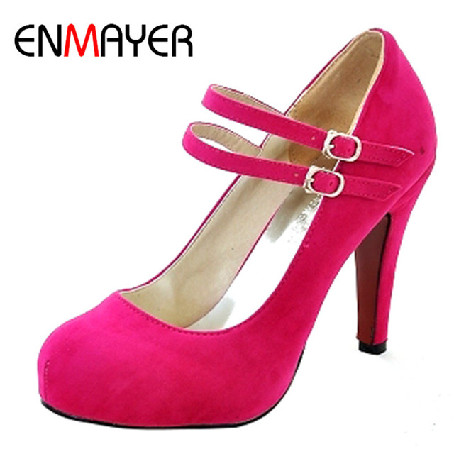 ENMAYER Clássicos Venda Quente Moda Dedo Do Pé Fechado Estilo Primavera/Outono Mulheres Bombas PU sapatos Sexy Plataforma de Salto Alto Sapatos de Casamento
