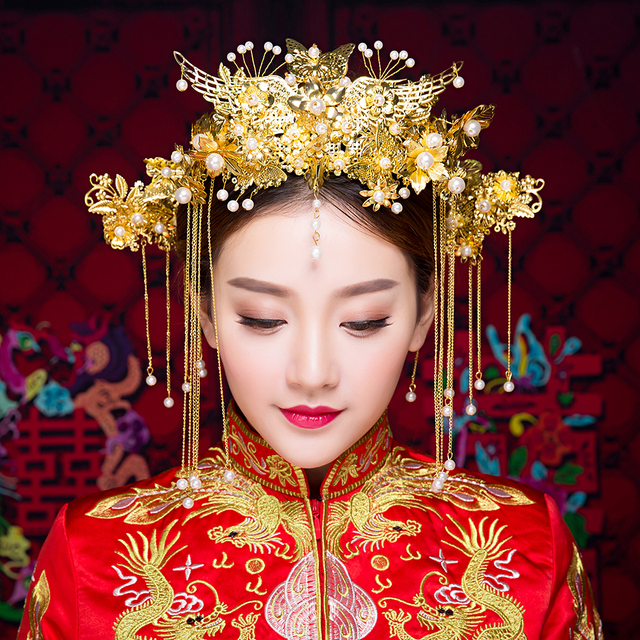 New Vintage Chinese Wedding Hair Accessories Jewelry Gold Color Long