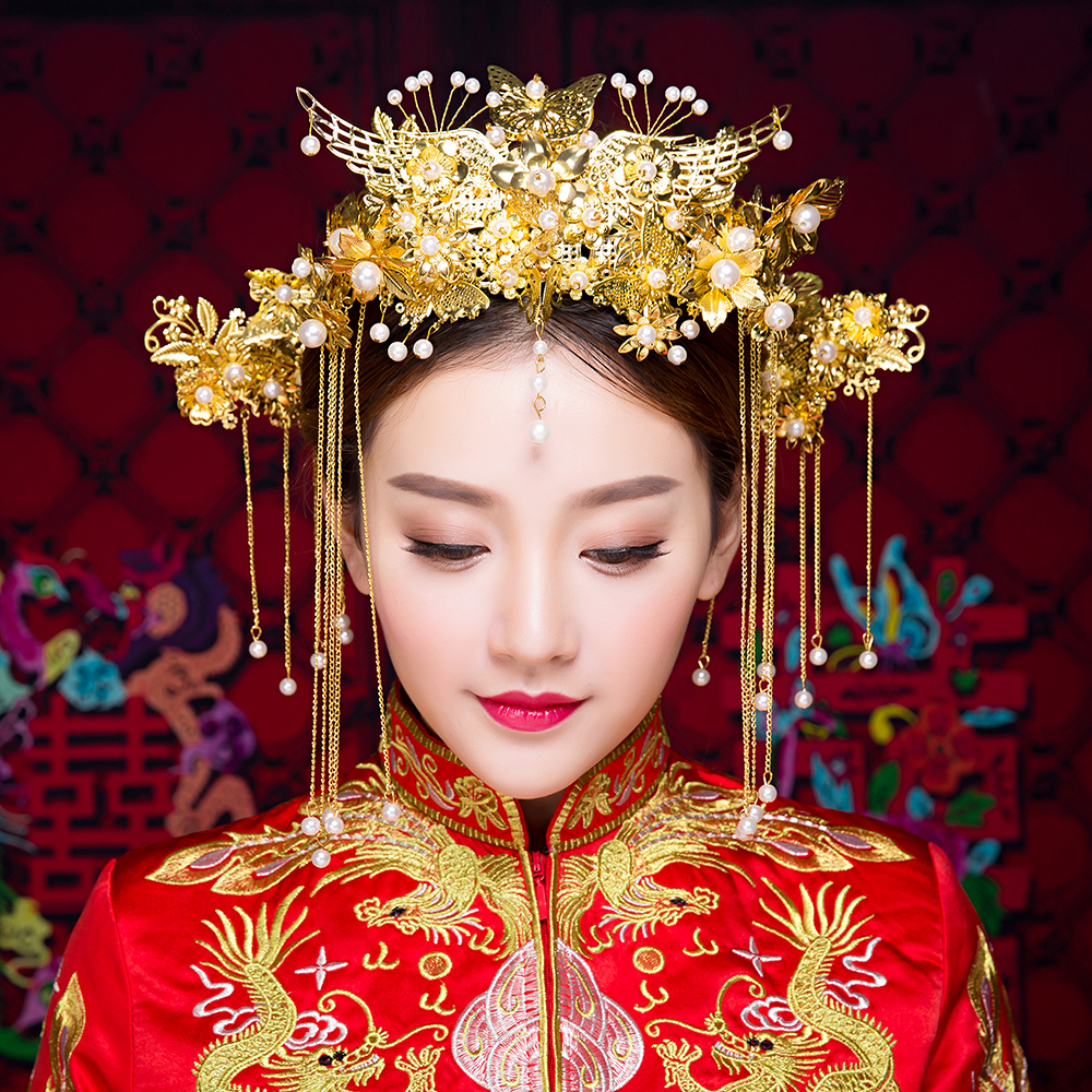New Vintage Chinese Wedding Hair Accessories Jewelry Gold Color Long Tassel Phoenix Headband Hairpins Simulated Pearl Headwear