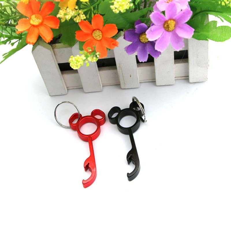 Wholesale 300pcs Mini Mickey Bottle Beer Can Opener Keychain Key Chains Bottle Openers Metal Wedding Gift Key Chian