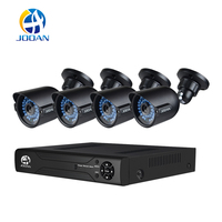 JOOAN Security Camera System 4CH 1080N Video Recoder And 4pcs 1000TVL Outdoor Night Vision Surveillance CCTV (5 in 1 DVR:AHD,TV