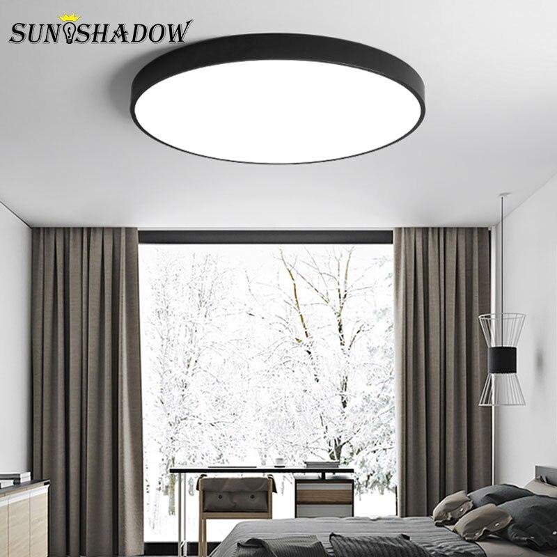 Acrylic Modern Led Ceiling Lights For Living room Bedroom Light Fixtures Round Lustres Chandelier Ceiling Lamp Metal Black White in Ceiling Lights from Lights Lighting