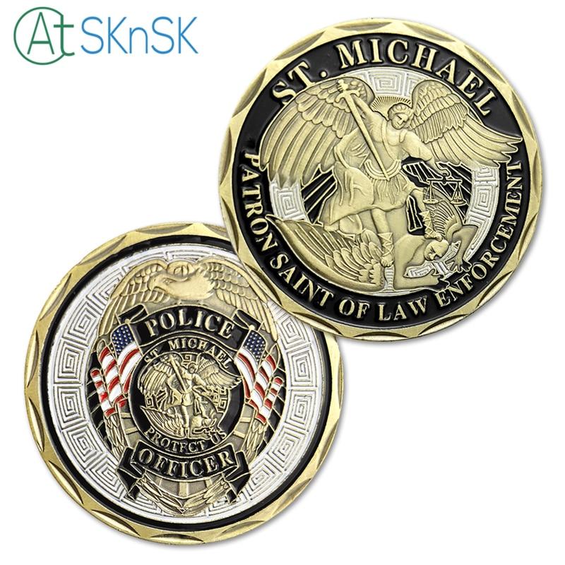 5pcs Nově přijatý policejní důstojník ST Michael Patron Svatý ministr pro vymáhání práva Challenge Coin, Bronzovaná mince, United State Coin