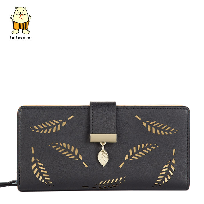 Beibaobao Good Quality Women Wallets Fashion Hollow Out Feather Ladies Purse Leisure Long Style Female Purse Leather Wallet B216