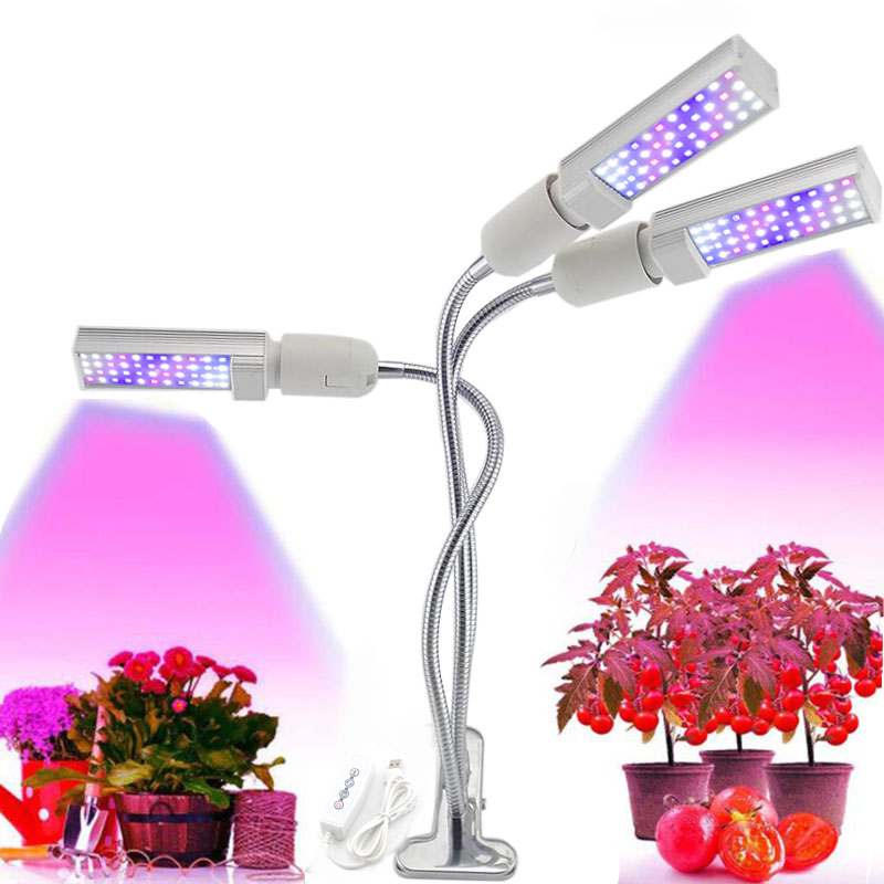 3 head LED Grow Light Lamps Growth 5V USB Timer Growing indoor plants Bulbs cultivo Phyto Lamp Full Spectrum Plant Fitolampy