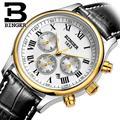 Швейцарские мужские часы Роскошные брендовые наручные часы Бингер механические наручные часы кожаный ремешок водонепроницаемые B6036-8