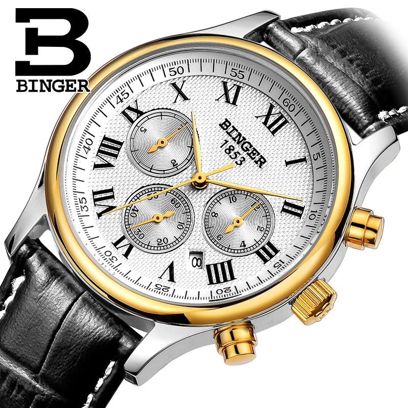 Switzerland men's watch luxury brand Wristwatches BINGER Mechanical Wristwatches leather strap Waterproof B6036-8 switzerland watches men luxury brand wristwatches binger mechanical wristwatches leather strap waterproof b6036 9