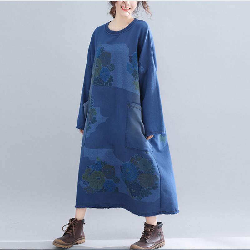 Free Shipping 2019 New Fashion Plus Size Loose Long Mid calf Cotton Dresses Autumn Print O neck Dresses With Big Pockets
