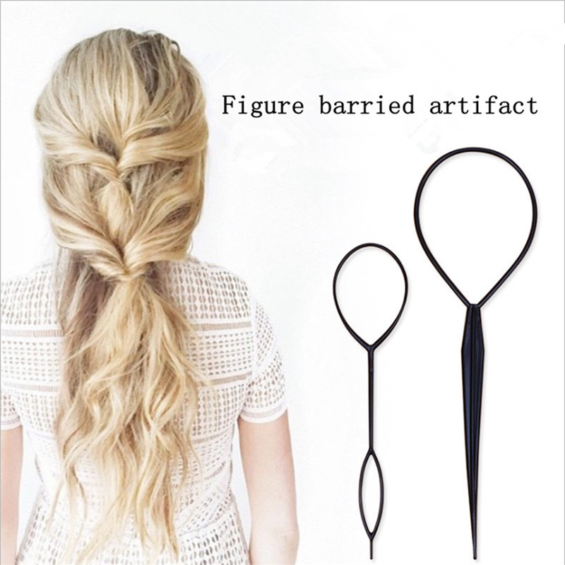 2pcs/set Hair Styling Tools 2019 New Plastic Magic Topsy Hair Tools Braids Ponytail Hair Style Twister Snare Loop Tools Fashion