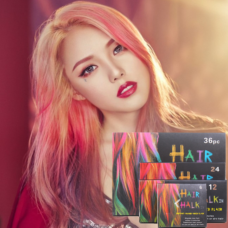 Hair Color Chalk Non Toxic Soft Crayons Dye Hair Stick Temporary Salon Kit Pastel Chalks For