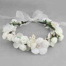 Boho Girl Floral Crown Flower Headband Hair Garland Wedding Headpiece White/Pink/Coffee