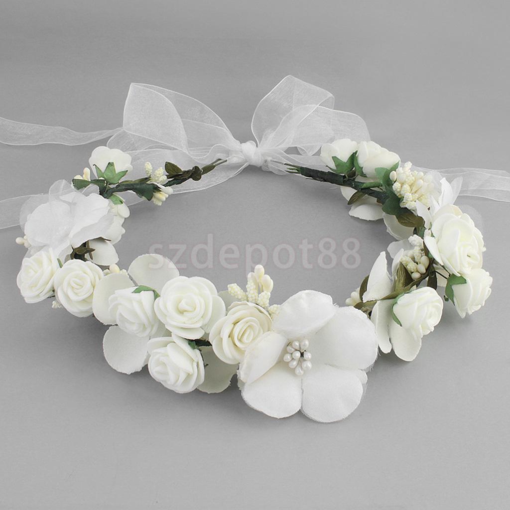 Boho Girl Floral corona flor diadema guirnalda de pelo boda tocado blanco/rosa/café