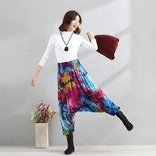 Donne cavallo basso goccia tie dye pantaloni Indiani Nepal Harem Pantaloni  hip hop danza splash-ink pantaloni colori della caram. 6d0d524a8cf6
