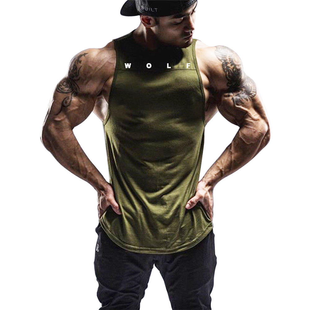 OA Fitness Men's Sleeveless Vests New Absorb Sweat Solid Color Round Collar Breathable   Tank     Tops   Bodybuilding Workout Singlet