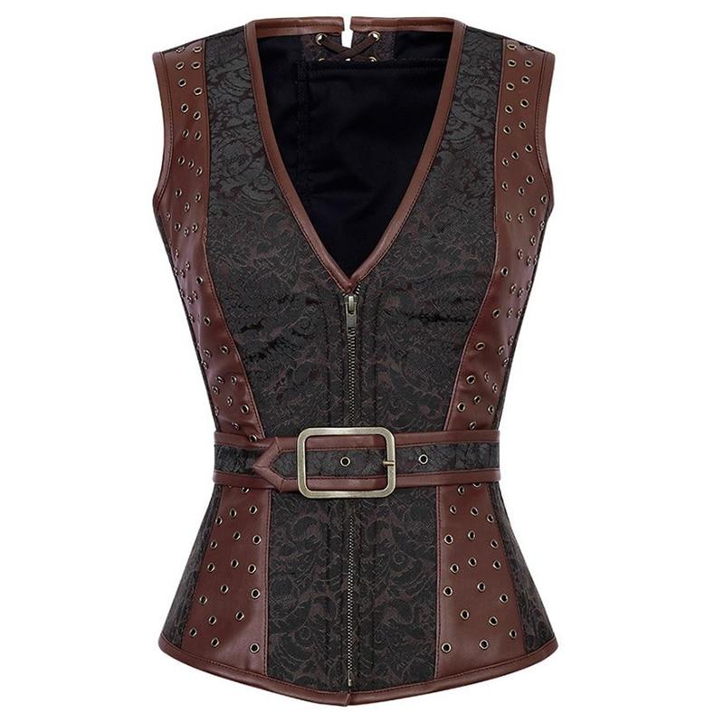 Brown Appliques Zipper Espartilhos Corsetto Sexy Brocade Faux Leather Waist Trainer   Corset   Steam Punk Vest Korsett For Women
