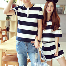 Summer Couples Lovers Clothes Cute Sweet Tops Hollow Out Off Shoulder Striped Girl Two Piece Matching Couple T Shirt E0410