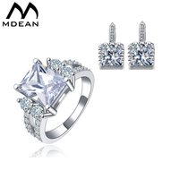 MDEAN Jewelry Sets Square CZ Diamond Engagement Vintage Ring Earring Fashion Accessories Luxury Wedding Jewellery