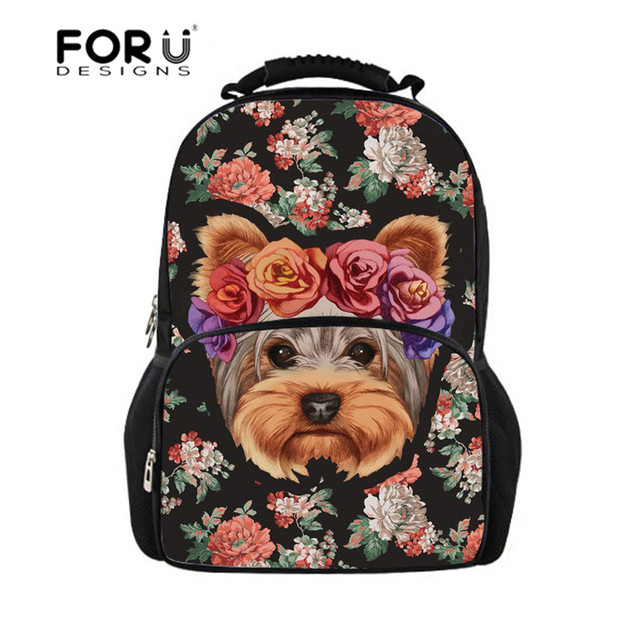 FORUDESIGNS Tumblr Women s Backpack for Girls Yorkie Printing Floral  Teenagers Notebook Daily Backpacks Kids Rucksack Mochilas f5389bc605
