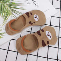 iMucci Low cut socks women invisible cotton no show liner cartoon animal rabbit loafers non-slip spring pair of women