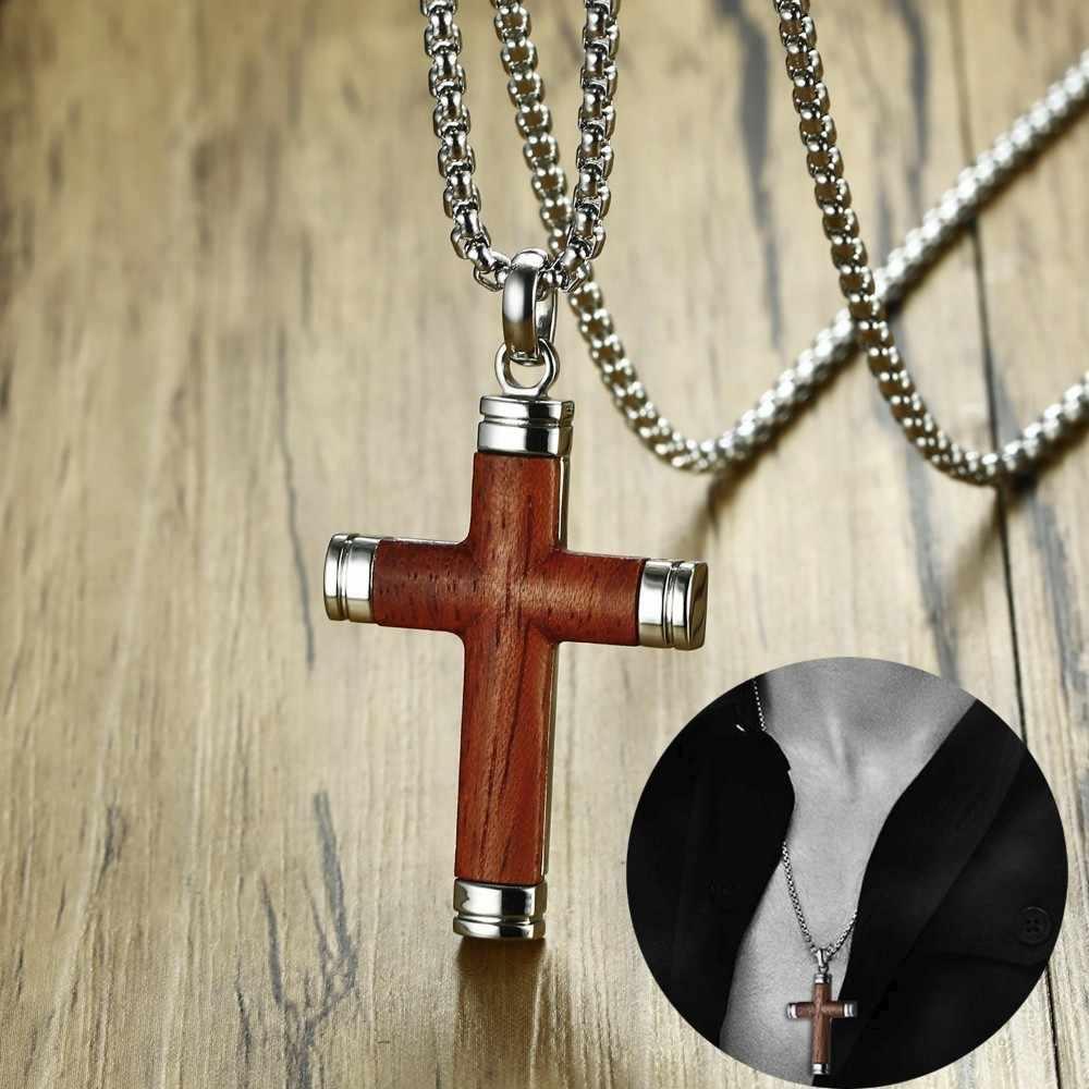 Noble Mens Cross สร้อยคอจี้ Rosewood และสแตนเลสสตีลกางเขนชาย Spiritual เครื่องประดับคริสเตียนของขวัญ 24 นิ้ว