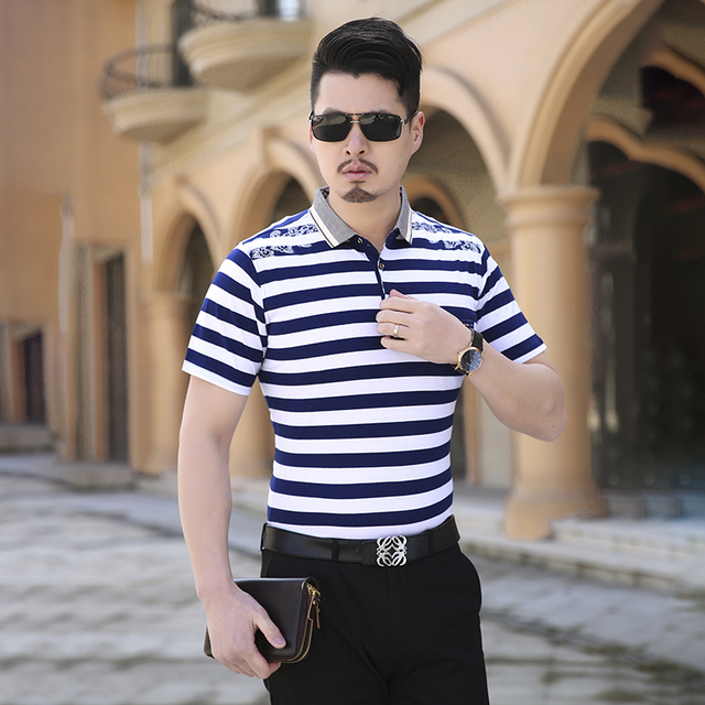 Striped Polo Shirt 2016 New Summer Short Sleeve Men Polo Shirt Business Casual Big Size Slim Shirts Polo Men Red/Navy 5XL