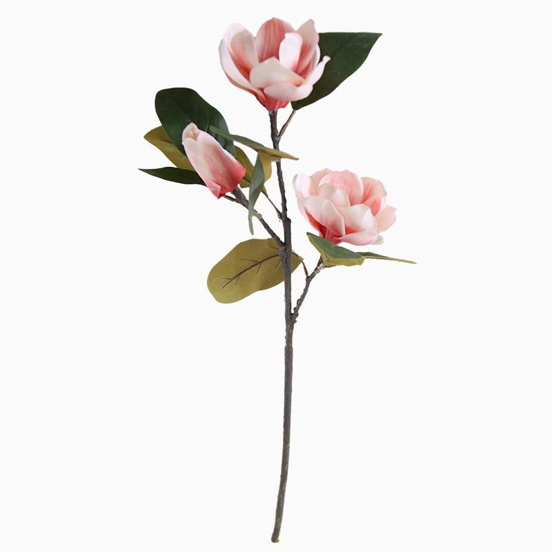 Artificial flowers magnolia long branch floral flower home decor wedding wall plant fake three heads Yatai Li Magnolia