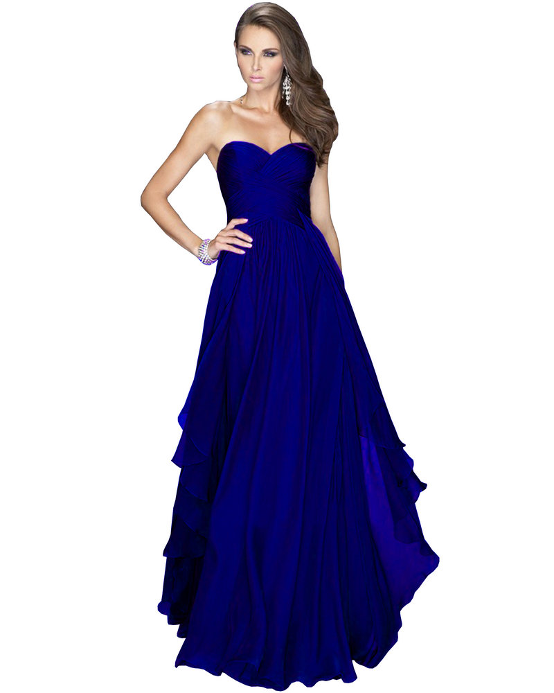 IN STOCK Royal Blue Emerald Green Red Chiffon Dress Bridesmaid ...
