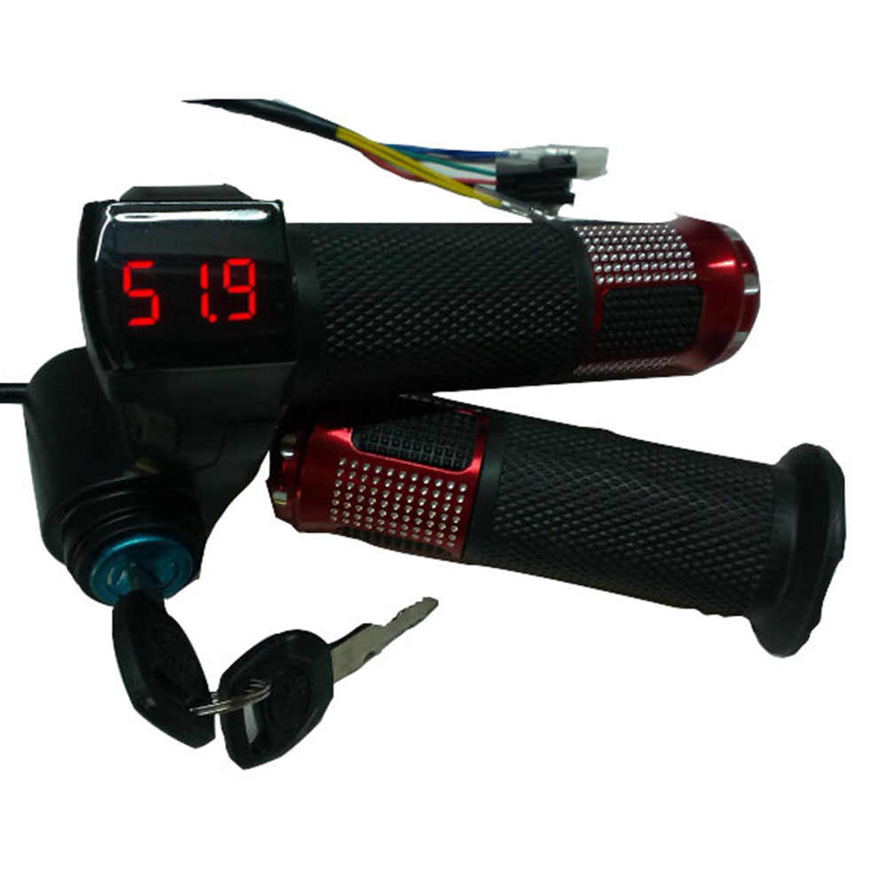 24 فولت/36 فولت/48 فولت/60 فولت/72 فولت تويست خنق ebike مع بطارية الطاقة شاشة الكريستال السائل التبديل المقود قبضة ل دراجة كهربائية/سكوتر/ebike